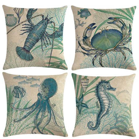 "Tayyakoushi Ocean Theme Coastal Throw Pillow Covers With Crab-Octopus-Lobster-Seahorse-Seashell-Fish-Starfish-Seaweed Nautical Pillow Cases For Beach House Home Decorative 18""×18"" Cushion Cover,4Pack - Ocean Theme Decorations"