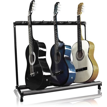 Best Choice Products 7-Guitar Folding Portable Storage Organization Stand Rack Display Decor for Acoustic, Bass, Electric Guitars w/ Padded-Foam Rails - Black (Acoustic Stand)