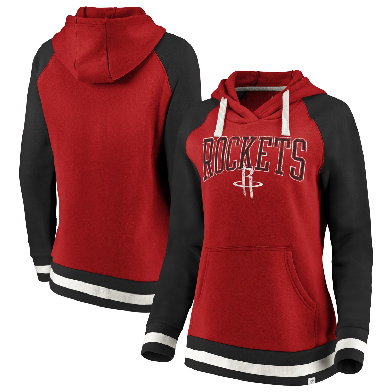 Houston Rockets Fanatics Branded Women's True Classic Vintage Retro Stripe Raglan Fleece Pullover Hoodie - Red/Black
