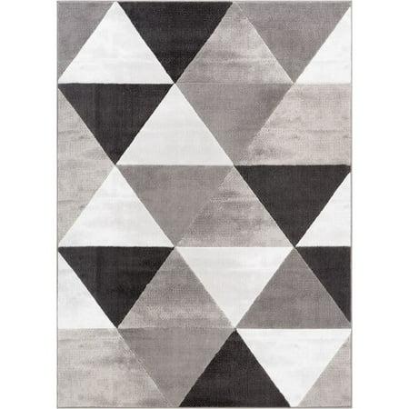Wooden Crystal (Well Woven  Crystal Mid-century Modern Geometric Grey Area Rug - 5' x)