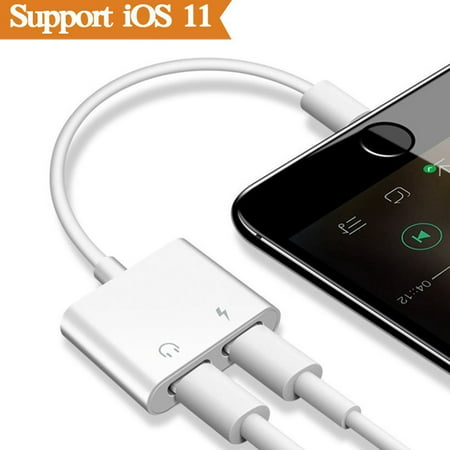 2-in-1 Lightning Splitter Adapter for iPhone 7 / 8 / X / 7 plus / 8 plus, Double lightning ports for dual Lightning Headphone Audio and Charge - Optical Audio Headphones