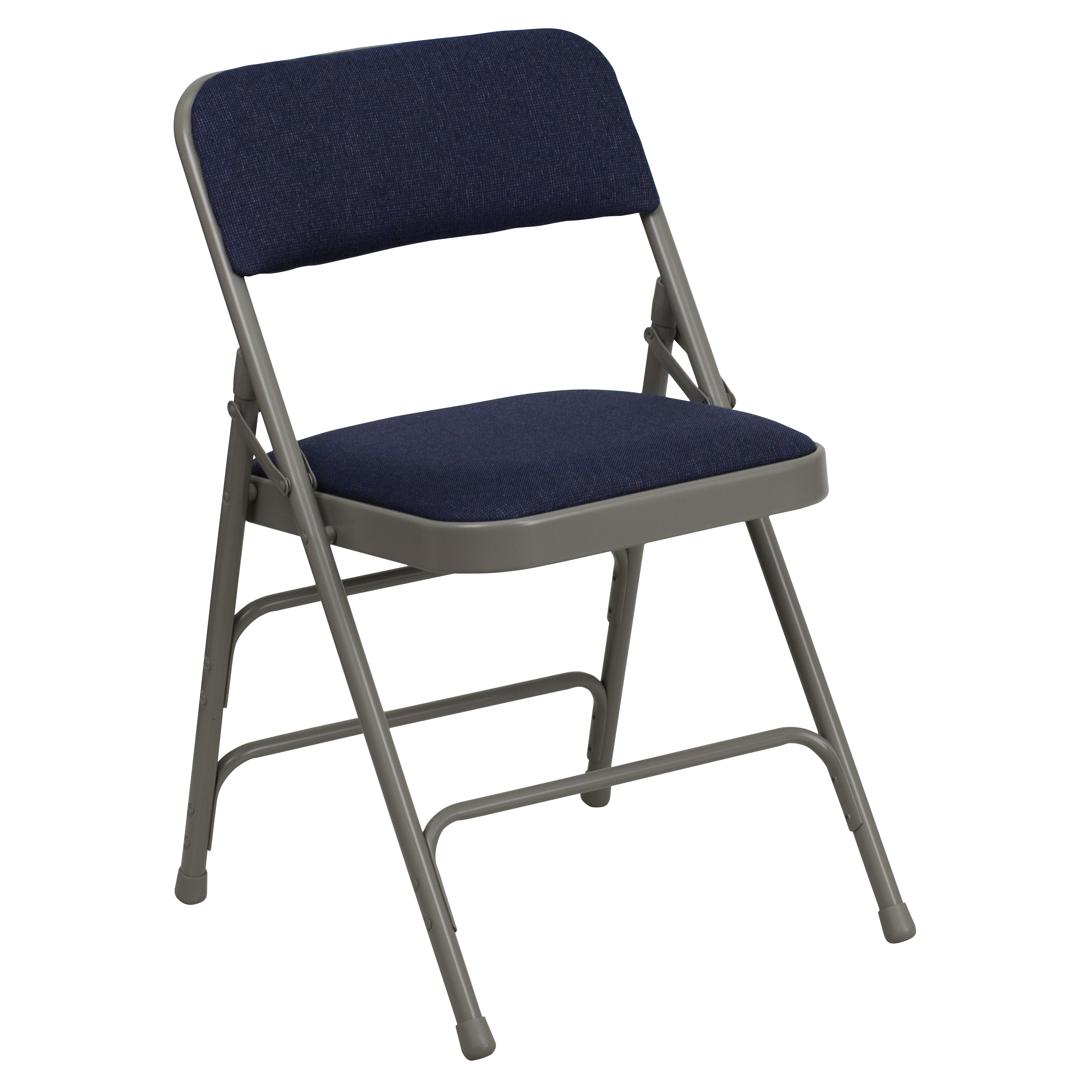 HERCULES Series Curved Triple Braced & Quad Hinged Upholstered Metal Folding Chair-Color:Navy,Upholstery:Fabric