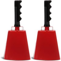 """2-Pack Cowbell with Handle, Loud Noise Maker Cow Bell for Cheering, Football Games, Sporting Events, Red, 9.5"""""""