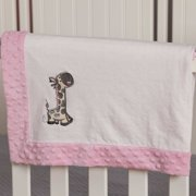 Blossom and Buds Giraffe Embroidered Minky Dot Blanket