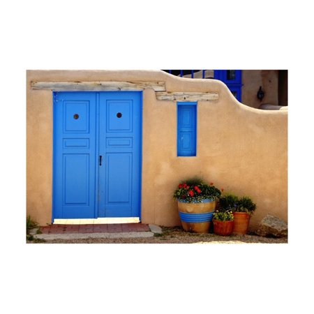Blue Door And Adobe Wall, Taos, NM Print Wall Art By George