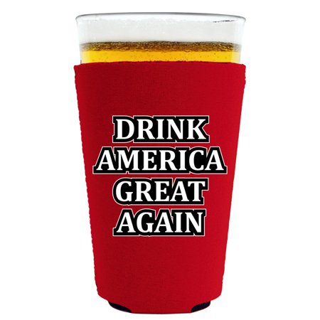 Drink America Great Again Pint Glass Coolie, Neoprene Collapsible, Choice of Colors (Red)