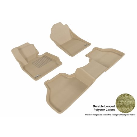 3D MAXpider Stylish Custom Fit All Weather Floor Mats for 2011-2018 BMW X3 (F25)/X4 (F26) Front & Second Row in Tan Carpet