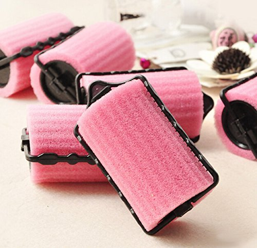 8 pcs DIY Natural Curly Hair Helper Pink Sponge Hair Styler Curler Roller Self Lock Hold for Lady Beauty Use Tools AOSTEK(TM)