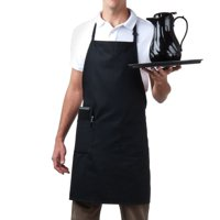 MHF Aprons, Adjustable Neck Bib Cooking Apron with Pocket, Poly Spun for Home, Commercial, Restaurant Kitchen, Black