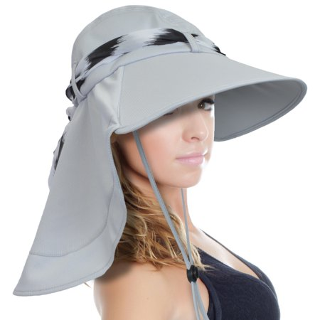 sun blocker women large brim uv sun protection fishing hat neck flap hat](Silver Top Hats)