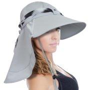 sun blocker women large brim uv sun protection fishing hat neck flap hat