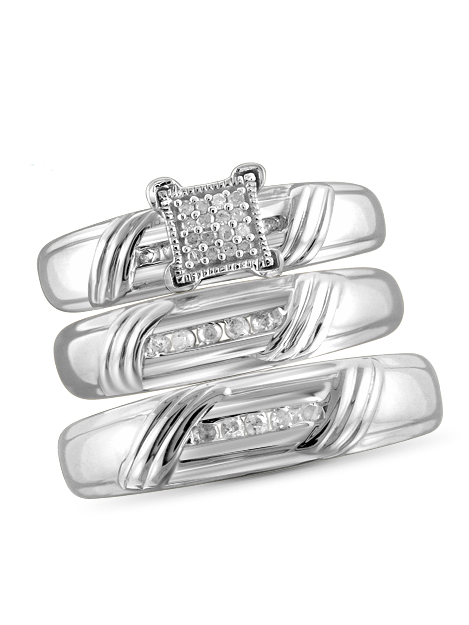 JewelersClub 1/5 Carat T.W. White Diamond Sterling Silver Trio Engagement Ring Set