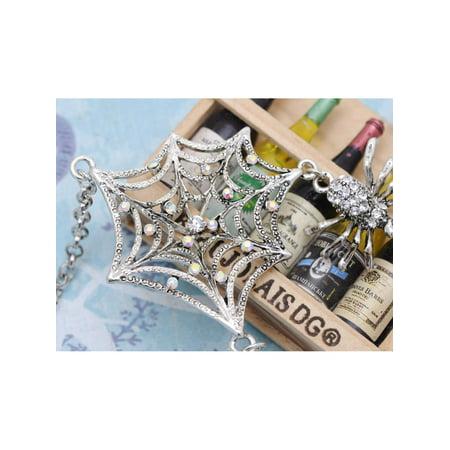 - Gunmetal Tone AB Crystal Rhinestones Spider Lily Web Silver Chains Necklace