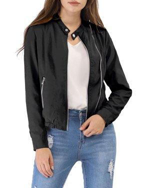 Allegra K Junior's Stand Collar Biker Lightweight Moto Jacket S(5) Black