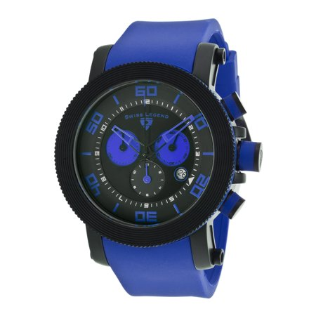 Swiss Legend 30465-Bb-01-Blas Cyclone Chronograph Blue Silicone Black Dial Black Ip Stainless Steel Watch