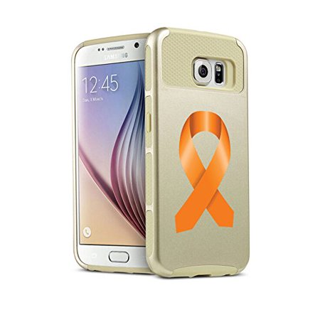 For Samsung Galaxy (S7 Edge) Shockproof Impact Hard Soft Case Cover Leukemia Cancer Multiple Sclerosis Kidney Cancer Color Awareness Ribbon (Gold)