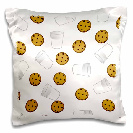 3dRose Cute Cartoon Milk and Chocolate Chip Cookies on White, Pillow Case, 16 by 16-inch