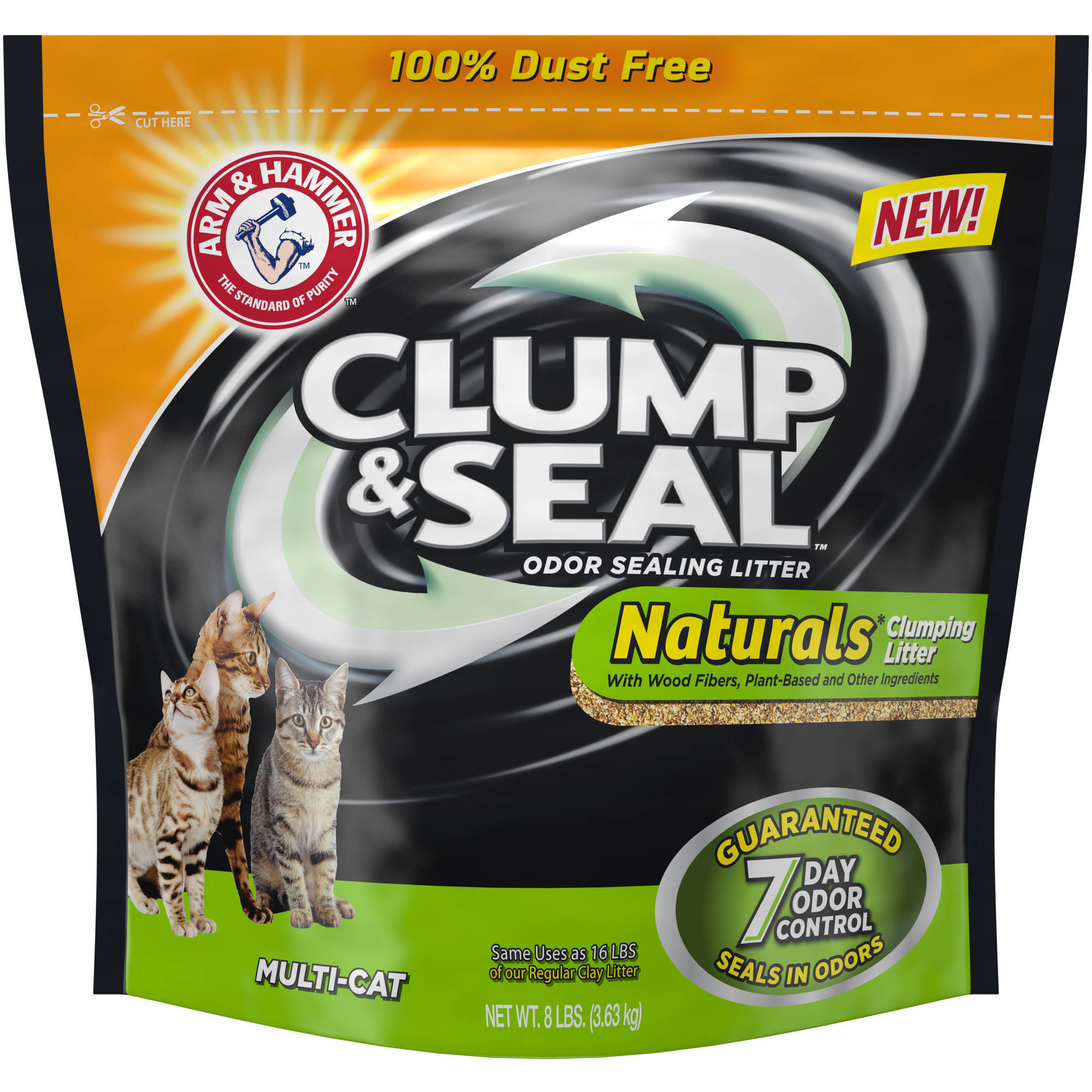 Arm & Hammer Clump & Seal Naturals Multi-Cat Odor-Sealing Cat Litter 8 lbs. Bag