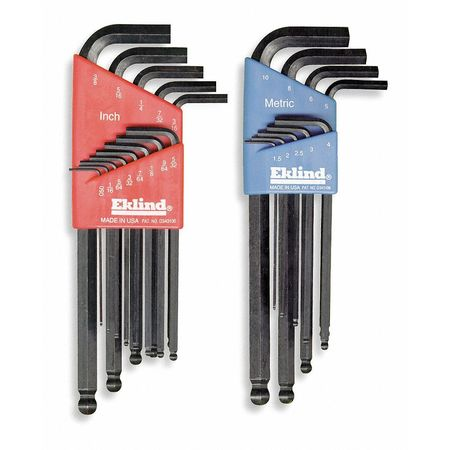 Eklind 13222 Long Series Ball-Hex-L Key Set 22 Count