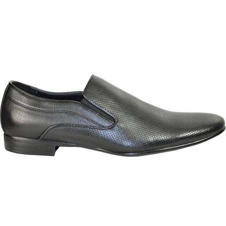 BRAVO Men Dress Shoe KLEIN-3 Loafer Shoe Black with Leather Lining 7.5 D(M) US