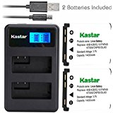 Eforcity Kastar Battery (X2) & LCD Dual Charger for Fujifilm NP_45, Nikon EN_EL10, Olympus LI_42B LI_40B, Kodak KLIC_7006 K7006, Casio NP