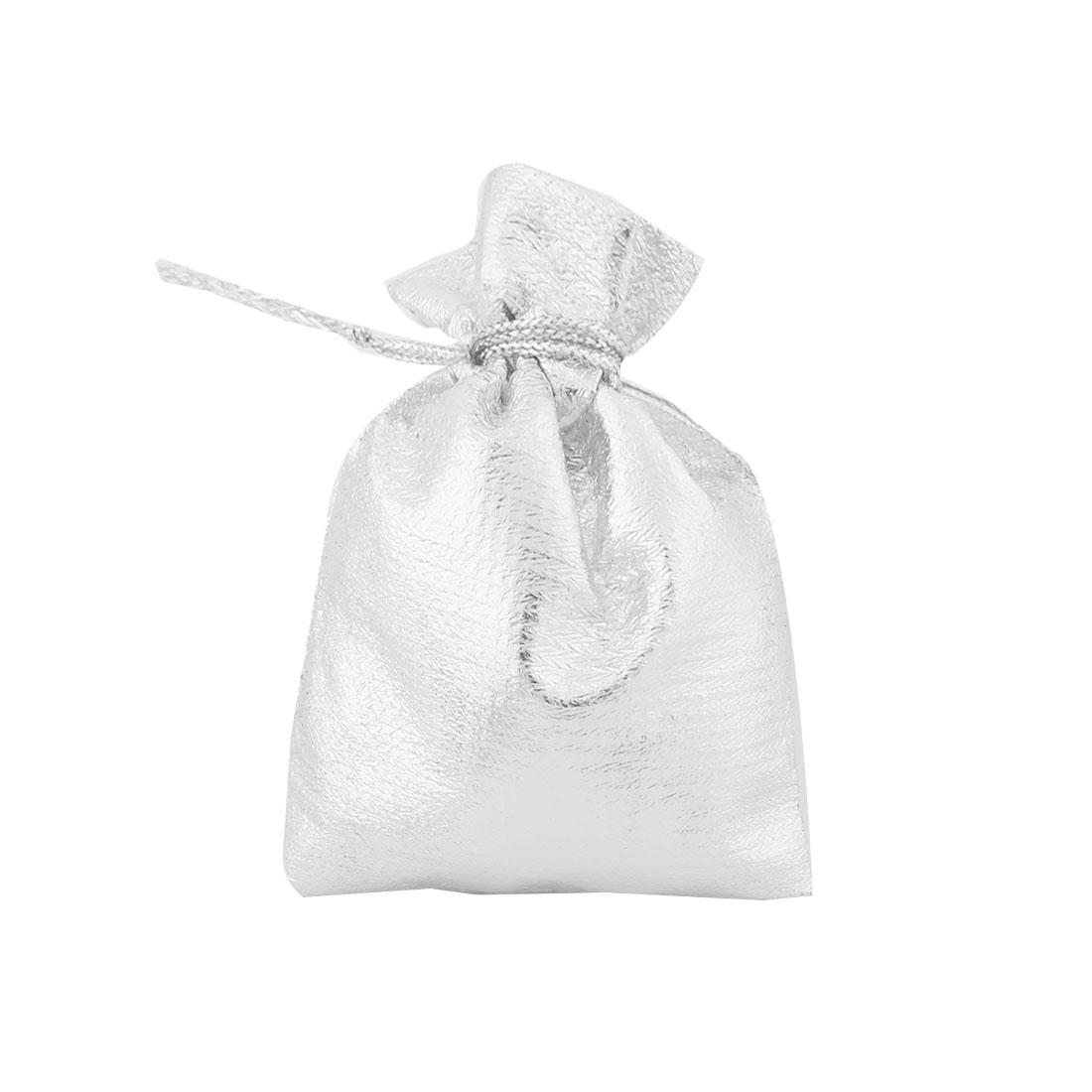 Lady Plastic Gift Jewelry Ring Holder Drawstring Bag Silver Tone 7cm x 5cm 50pcs - image 1 of 4