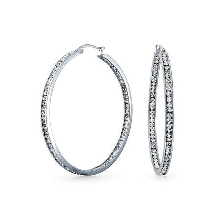 14k Stainless Steel Earrings (Round Channel Set CZ Inside Out Large Hoop Earrings For Women 14K Silver Tone Stainless Steel 2 In Dia)