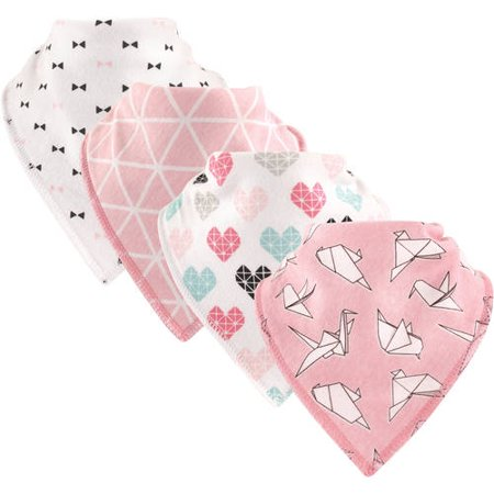 Hudson Baby Boy and Girl Cotton/Fleece Bandana Bib, 4-Pack - Paper Birds ()