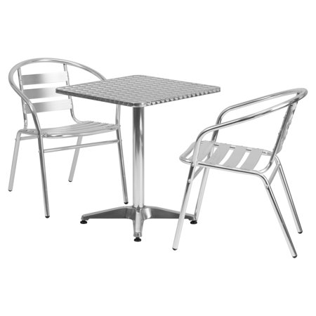 Aluminum Slat Table - Flash Furniture 23.5'' Square Aluminum Indoor-Outdoor Table with 2 Slat Back Chairs