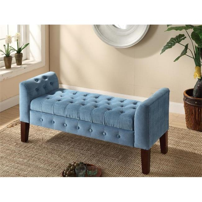 Kinfine K6211-B122 Velvet Tufted Settee Storage Bench by