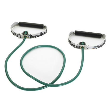 TheraBand Professional Latex Resistance Tubing with Handles, Hard Handles, 48 Inch, Green, Heavy, Intermediate Level 1