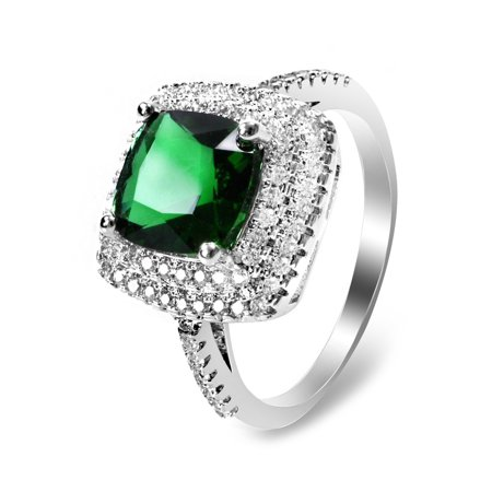 Women Rhodium Plated Crystal Engagement Party Ring, 7371_Green Gemstone 7