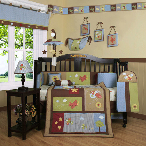 Geenny  Airplane Aviator 13-piece Crib Bedding Set
