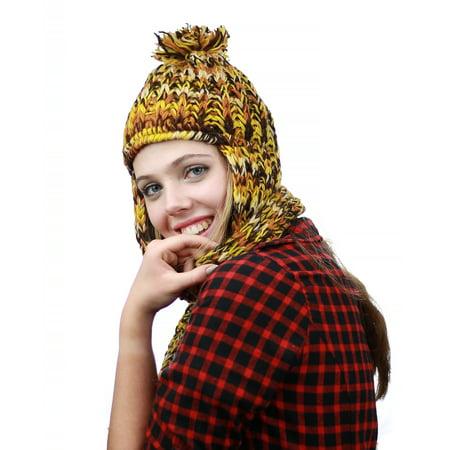- NYFASHION101 Nepal Wool Fleeced Hand Knit Ski Trooper Hat Scarf Set - Yellow