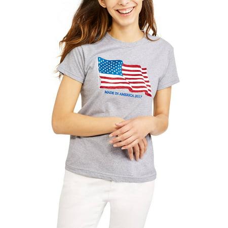 Flag Thermal Shirt - Women's Short Sleeve Crewneck 2017 Flag Graphic T-Shirt