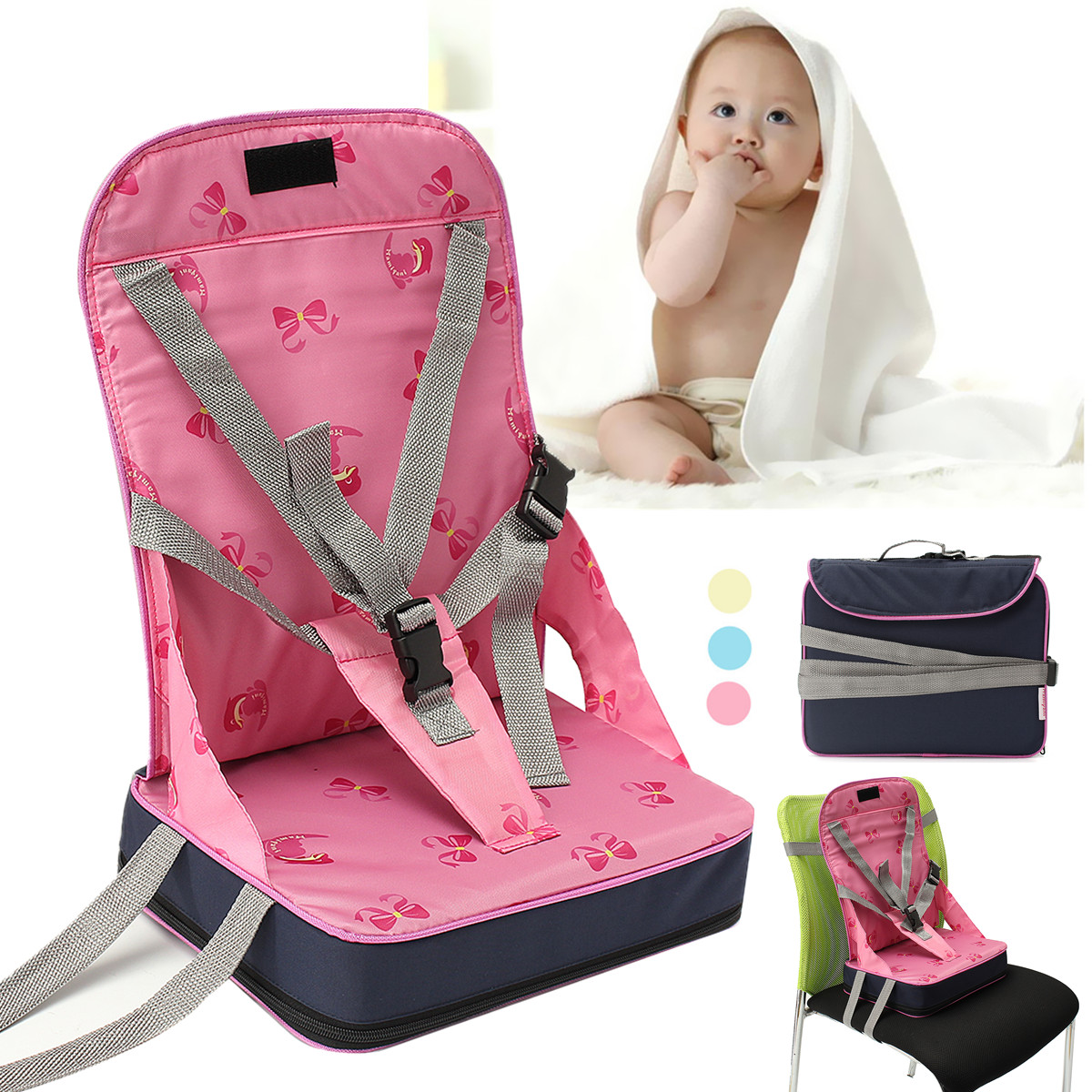 Portable Baby High Chair Dining Feeding Chair Foldable Kids Booster Seat Travel ,Pink color