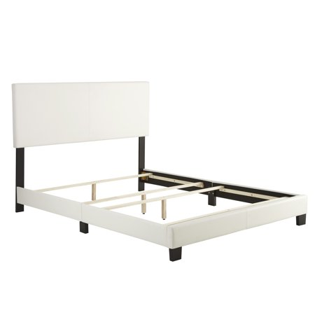 Premier Sutton Upholstered Faux Leather Platform Bed Frame, Queen, White