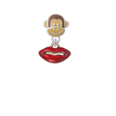 Small Gold Tone Translucent Red Lips - Monkey Face Charm Bead