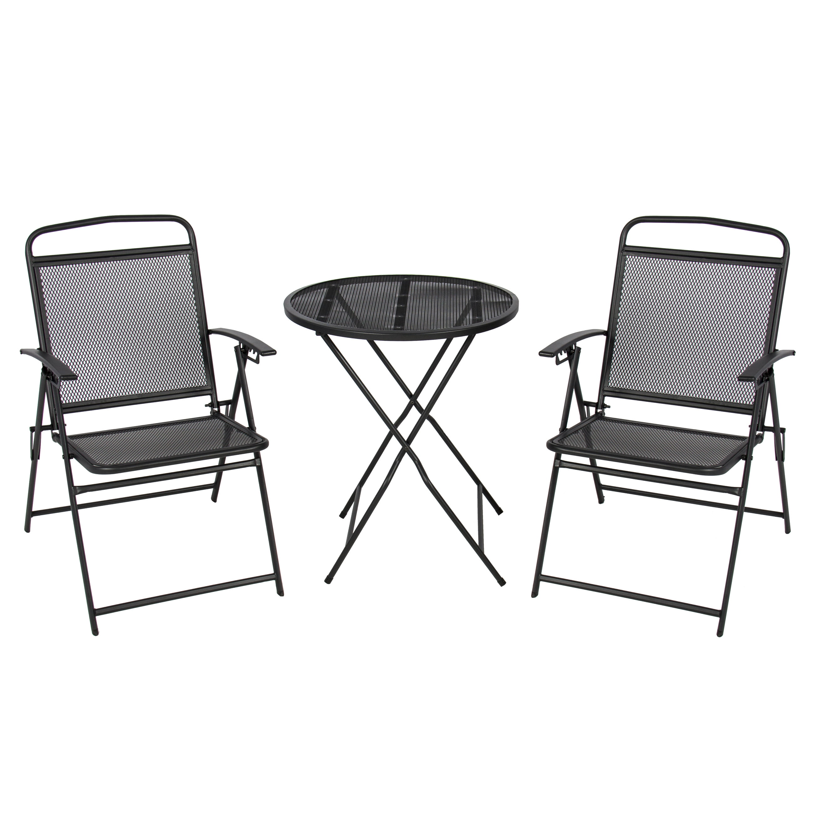 Best Choice Products 3-Piece Adjustable Foldable Compact Outdoor Bistro Set w  Reclining Chairs Black by Best Choice Products