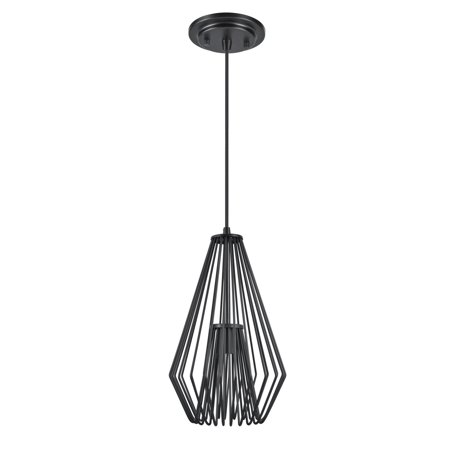 Aspen Creative 61080-1 Adjustable One-Light Hanging Mini Pendant Ceiling Light, Transitional Design in Black Finish, Metal Wire Shade, 9 1/2