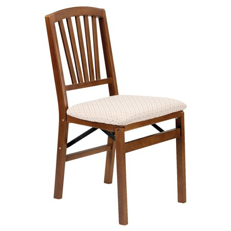 Classic Hardwood Slat back folding chair - Blush fabric and Fruitwood