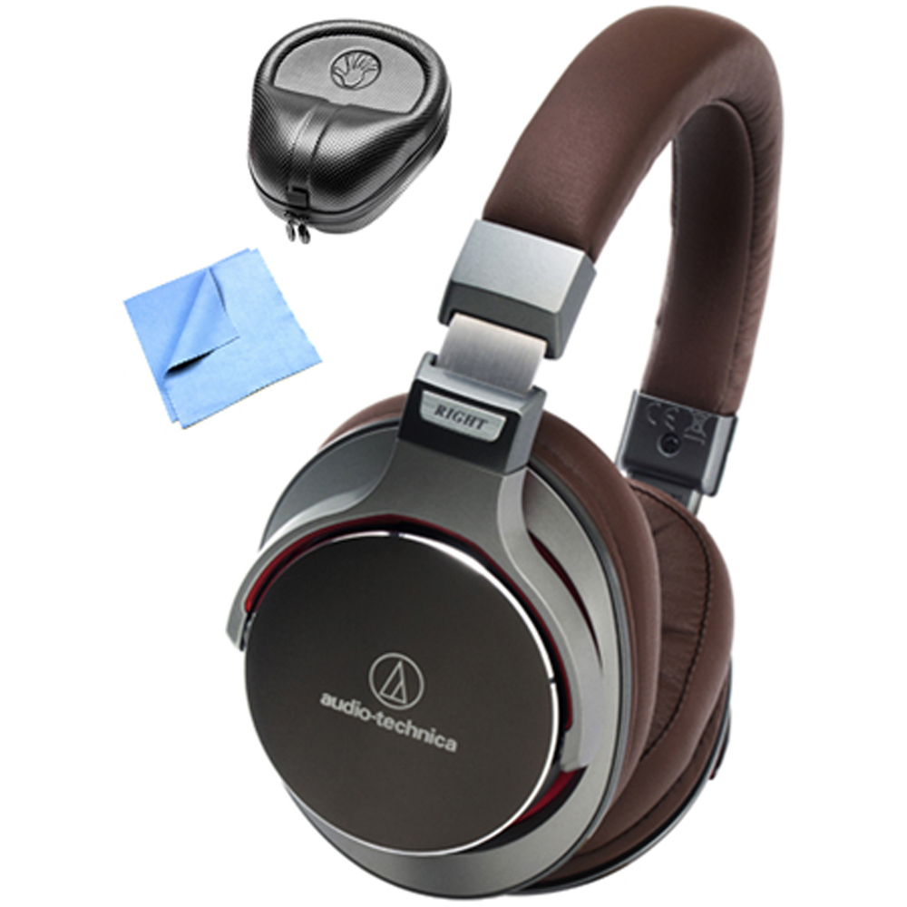 Audio-Technica SR7 SonicPro Over-Ear High-Resolution Headphones with Slappa HardBody Headphone Case & Cleaning Cloth, Gun Metal Grey