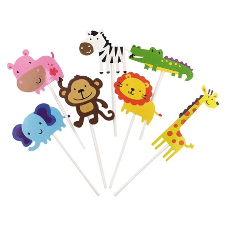 28 Pack Cute Zoo Animal Cupcake Toppers PicksJungle Animals Cake For Kids Baby Shower Birthday Party Decoration Supplies