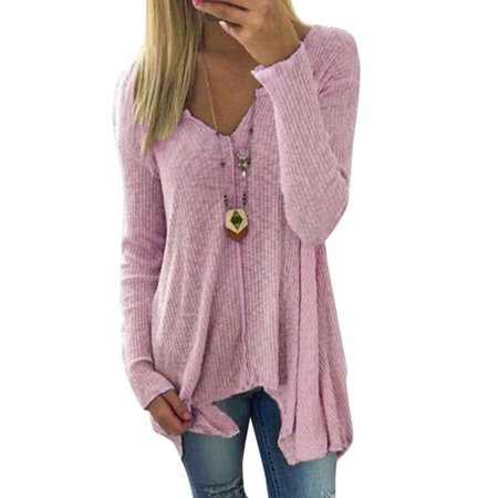 Women Long Sleeve V Neck Sweater Plus Size Casual Baggy Pullover Jumper  Blouse Tops - Walmart.com 34d821f1b