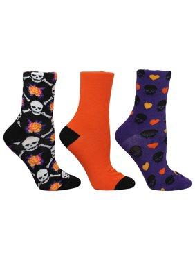 Betsey Johnson Ladies 3PK Halloween Skull & Bat Crew