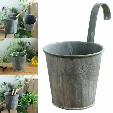 Hanging Pail (AkoaDa Hanging Flower Pot Hook Wall Pots Pail Iron Flower Holder Home Plants Fashion )
