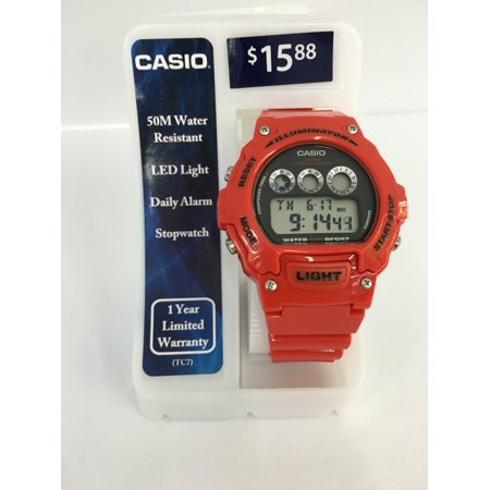 Casio Mens Digi Round Red Gloss Watch