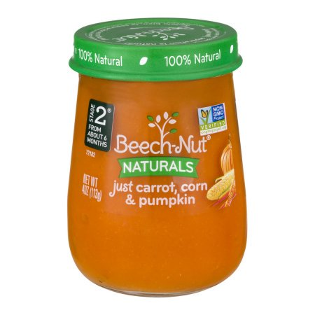 Beech-Nut Stage 2 Just Carrot, Corn & Pumpkin Baby Food, 4.0 oz, (Pack of (Just Carrots)
