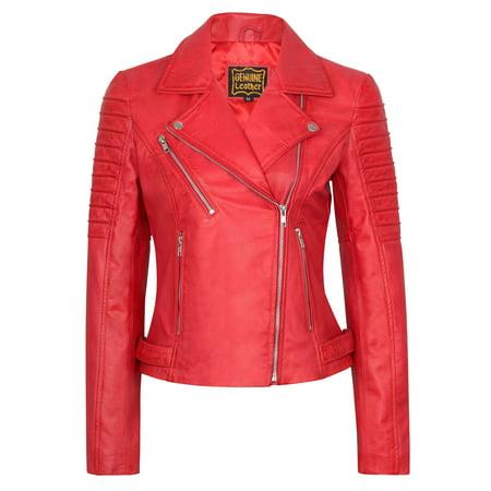 Women's Lambskin Leather Bomber Motorcycle Biker Real Leather Jacket Wholesale Leather Biker Jacket
