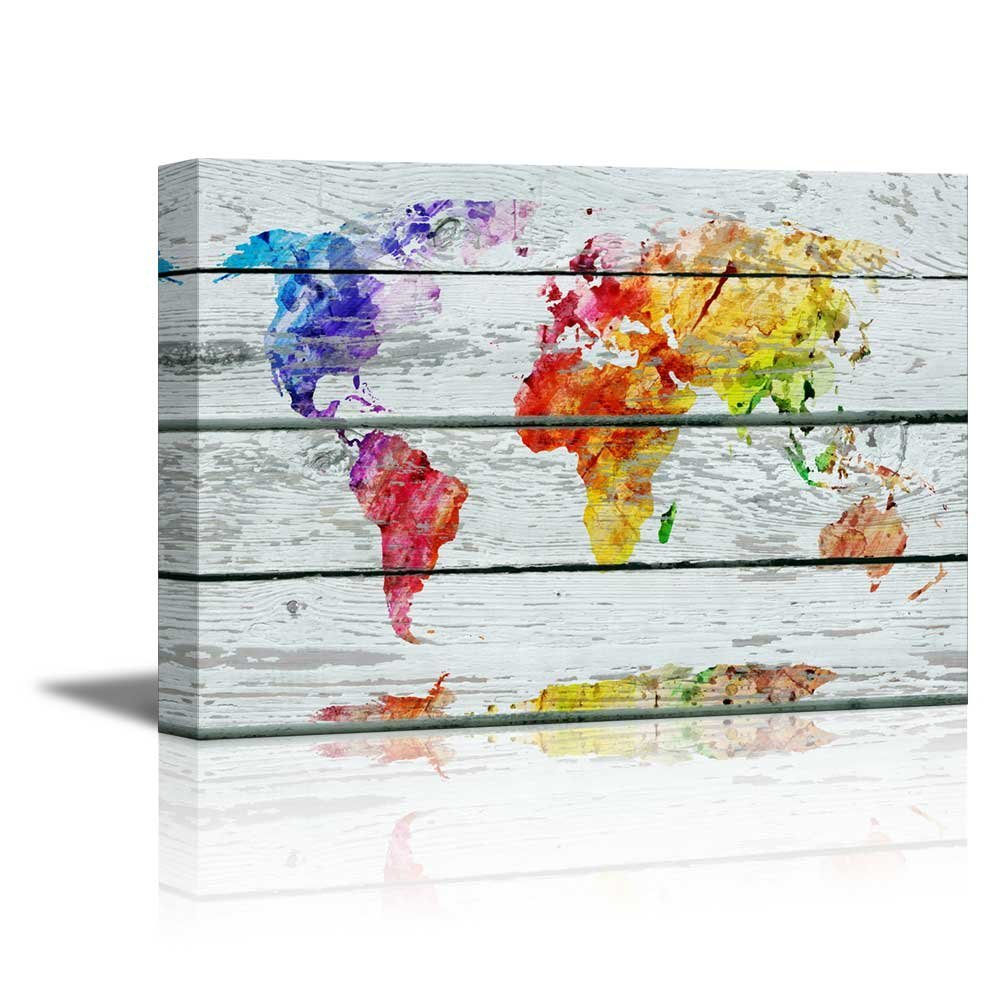 Colorful World Map Art.Wall26 Canvas Prints Wall Art Abstract Colorful World Map On